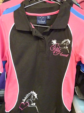 Black/Pink size ladies 8/Kids 10 Polo Shirt Wild at Heart