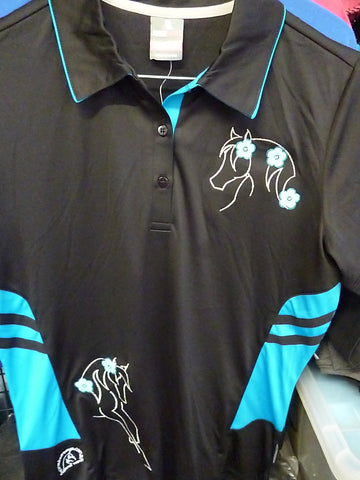 Black/Cyan Pink Ladies 10 polos shirt