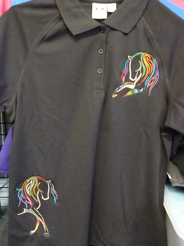 Black ladies size 10 rainbow horse Polo