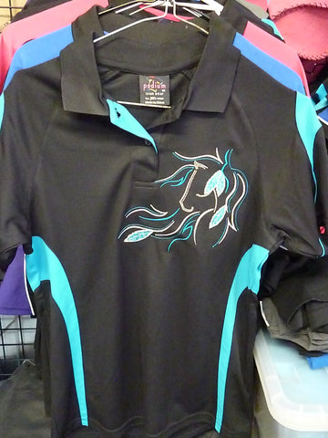 Black/Aqua Ladies Polo Ladies 10/ Kids 12- small sizes