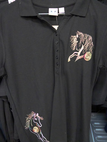 Black ladies size 12 polos shirt rainbow embroidery