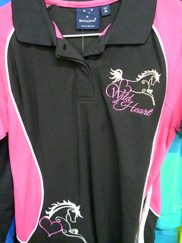 Black/Pink wild at heart ladies 10 Horseup Dressage Polo shirt