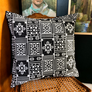 Chambray Embroidered Pillow Cover in Black