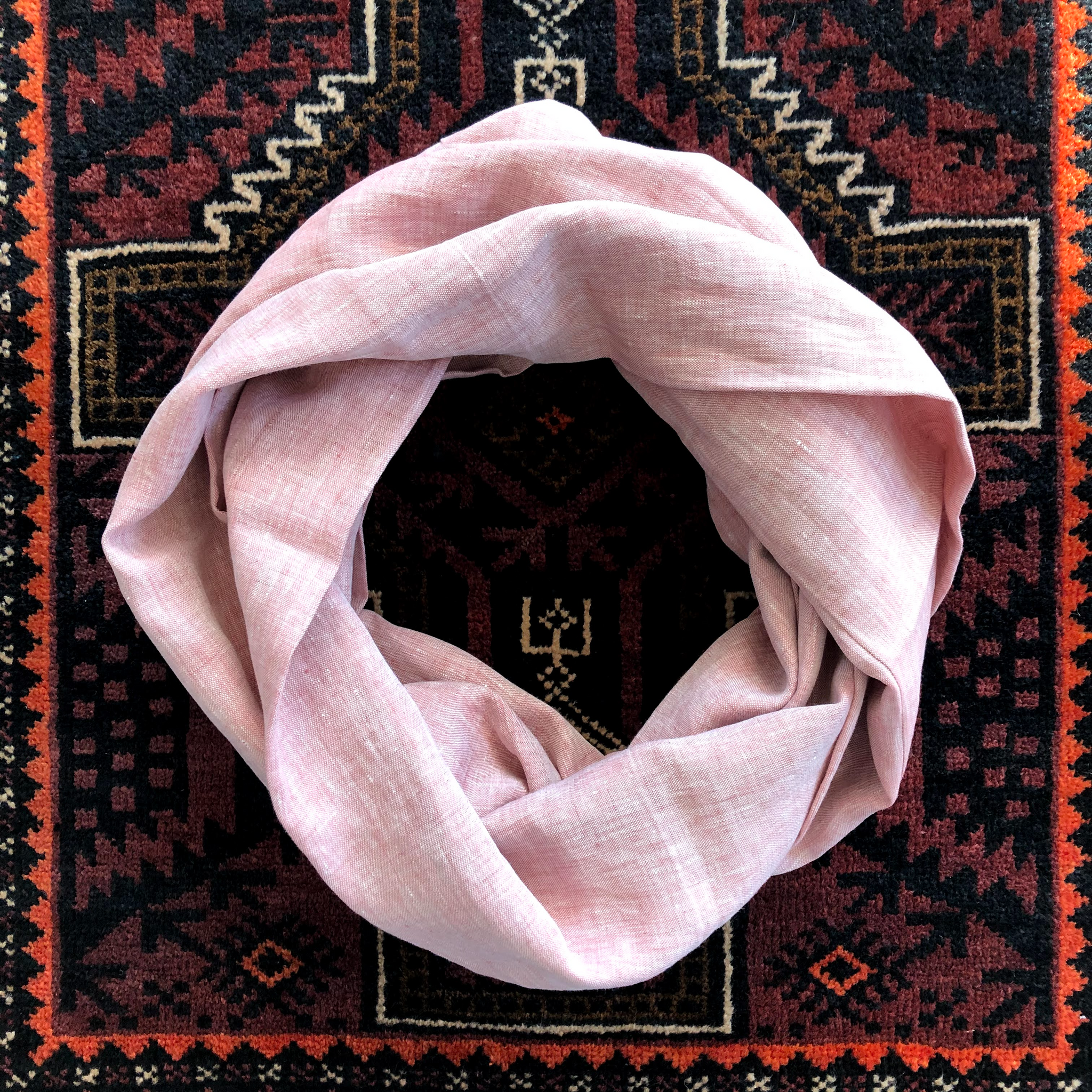 Linen Circle Scarf in Rose
