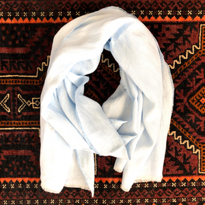 Linen Straight Scarf in Sky