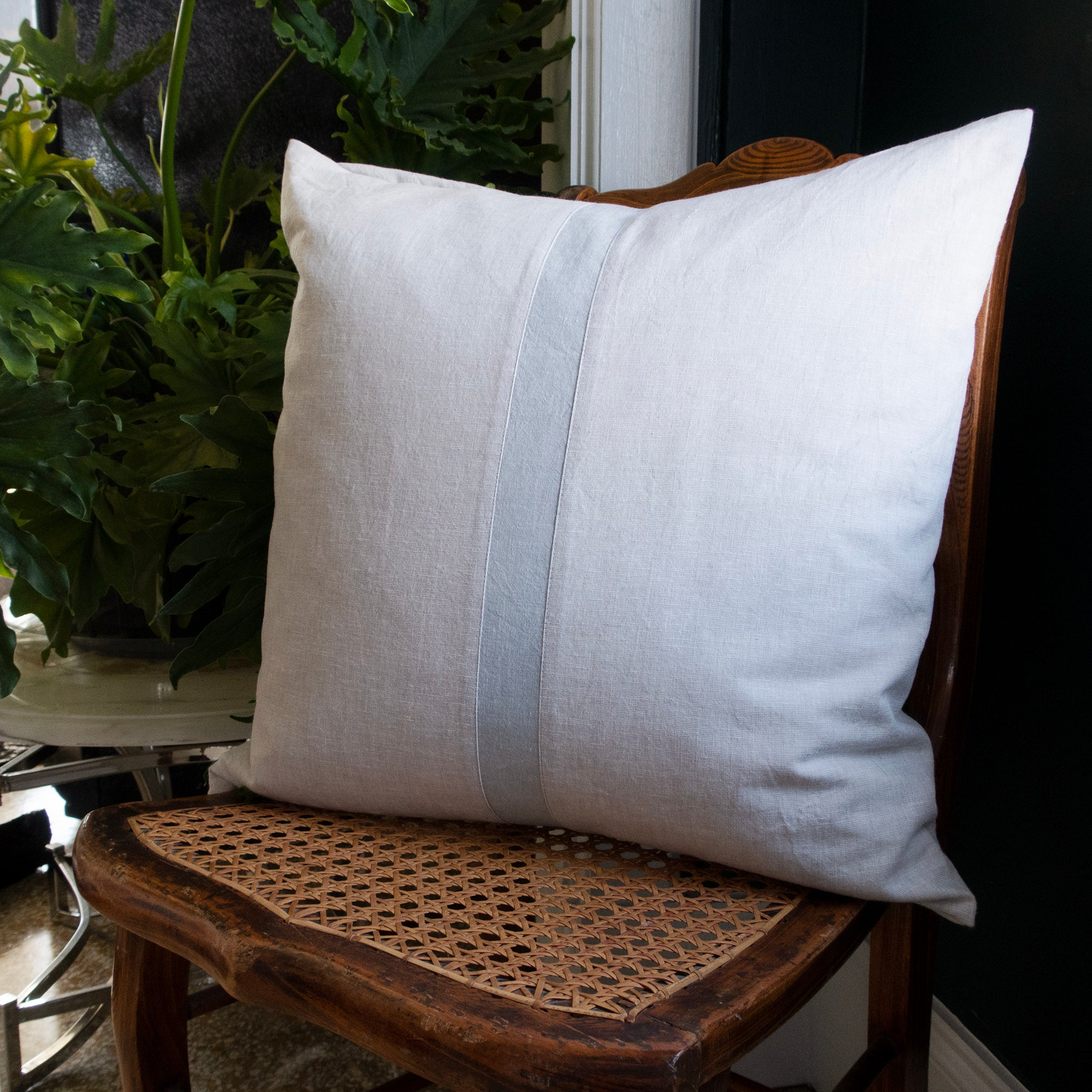 Blue Stripe Piecework Pillow Cover