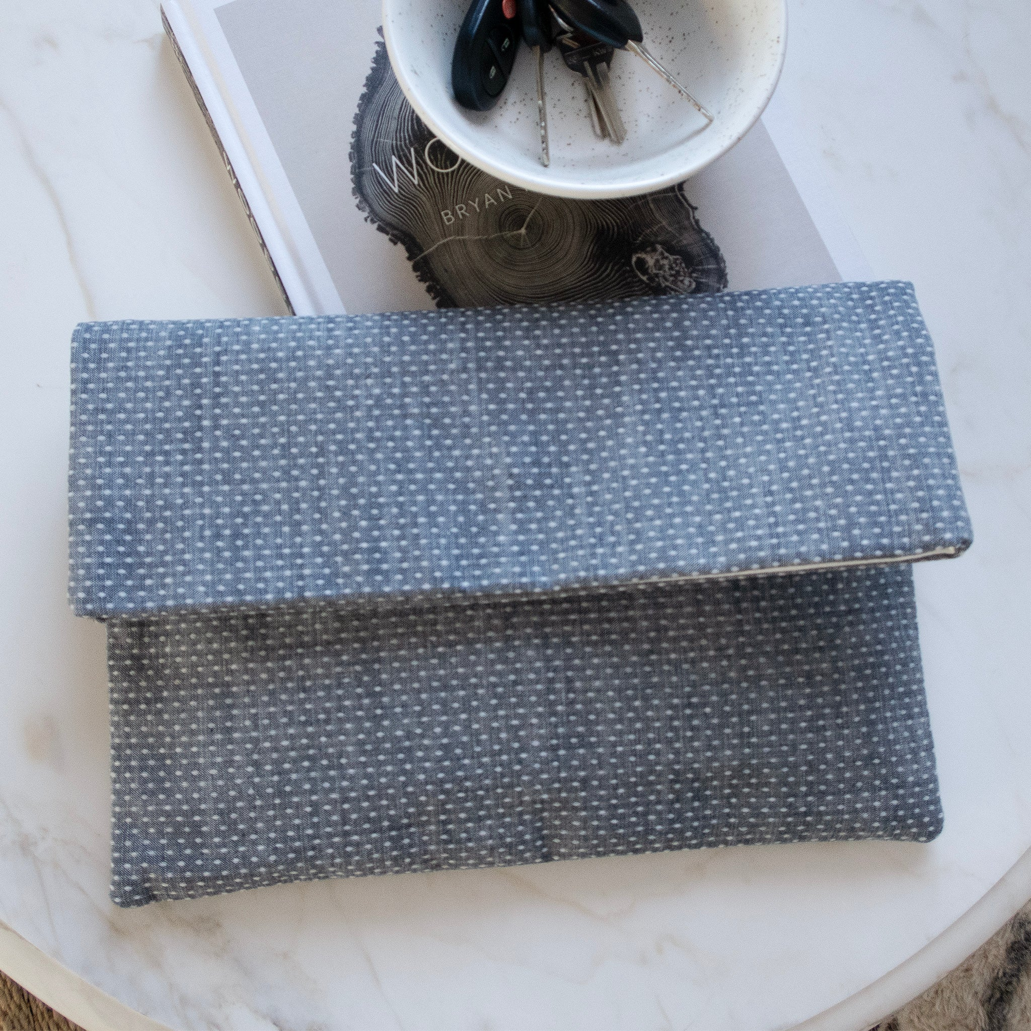 Chambray Foldover Clutch