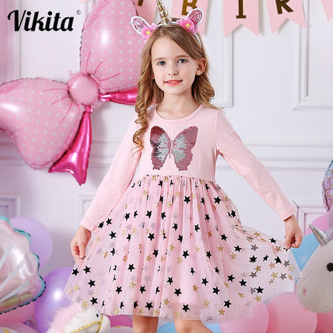 Autumn Girls Dress Butterfly Sequins Kids Long Sleeve Dresses Baby Girls Princess Dress Party Clothes Birthday Dresses