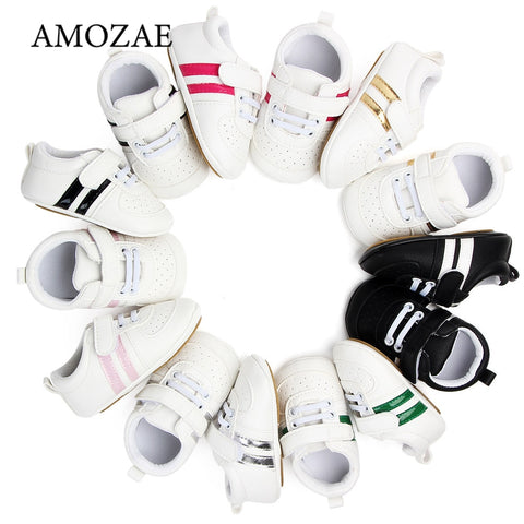 Baby Shoes Newborn Boys Sneaker Girls Two Striped First Walkers Kids Toddlers Lace Up PU Leather Soft Soles Sneakers 0-18 Months