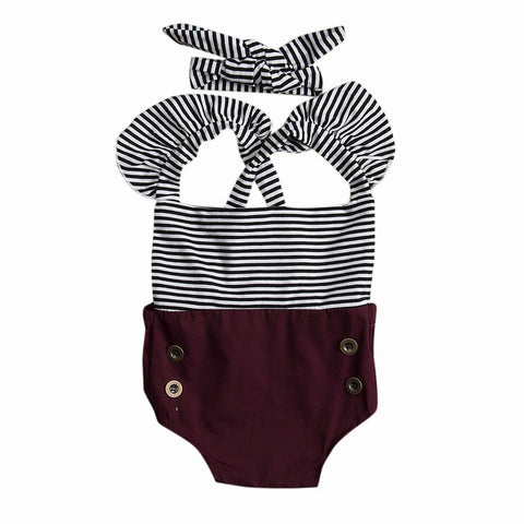 Striped Toddler Baby Girl Summer Romper Bodysuit Jumpsuit Outfit Sunsuit Clothes