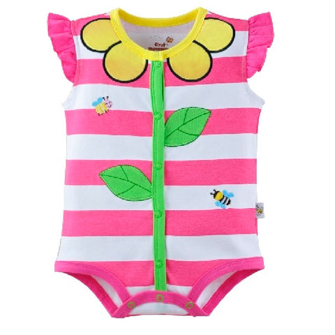 Hooyi Floral Stripe Baby Girls Bodysuits 100% Cotton baby girl clothes newborn jumpsuit ropa de bebe -  - BabyShop18