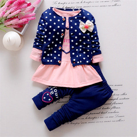 BibiCola Kids Spring  new Korean wave point clothing set baby girls cute cotton clothes suit childern cartoon 3pcs suit -  - BabyShop18