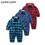 Plaid bebes clothes baby clothes long sleeve lapel baby romper newborn cotton baby costume baby boys newborn clothes -  - BabyShop18