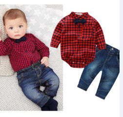 2016 new red plaid rompers shirts+jeans baby boys clothes bebe clothing set -  - BabyShop18