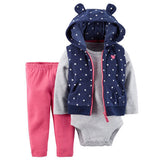 Long sleeve embroidered stripe hooded+romper+pants 3pcs newbron clothing  baby girl outfit -  - BabyShop18