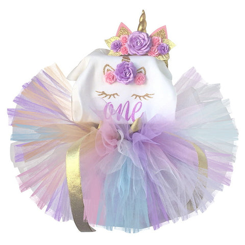 dd6a778cf46 Baby Girl Clothes 1st Birthday Cake Smash Outfits Infant Clothing Sets  Romper+Tutu Skirt+Flower Cap Newborn