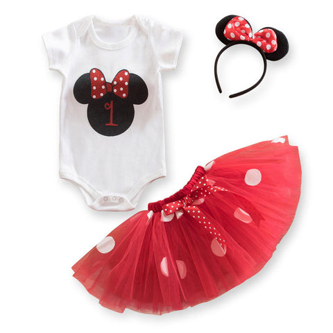 Infant Baby Girl Floral Romper+Tutu Skirt Outfit 1st Birthday Party Clothes Set
