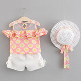 Summer Newborn Baby Girl Clothes Strap Bow Vest + Floral Shorts + Fashion Hat 3Pcs Set Baby Clothing Suit For Girls Clothes -  - BabyShop18
