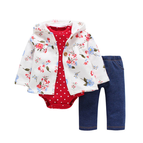 3 Pieces Set Clothes Hooded Zipper Full Sleeve Open flowers Coat Full Sleeve Bodysuits -  - BabyShop18