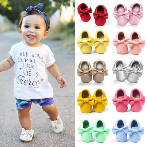 Handmade Soft Bottom Fashion Tassels Newborn Babies Shoes PU leather Prewalkers -  - BabyShop18