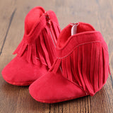 Moccasin Moccs Baby Girl Boy Prewalker Shoes with Solid Fringe and Soft Soled Anti-slip Boots -  - BabyShop18
