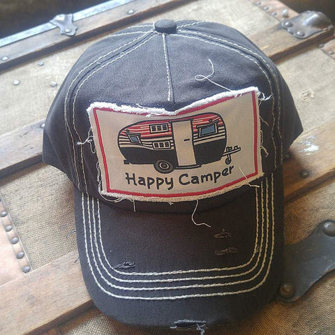 Happy Camper Baseball Hat in Black - Boot Lovers
