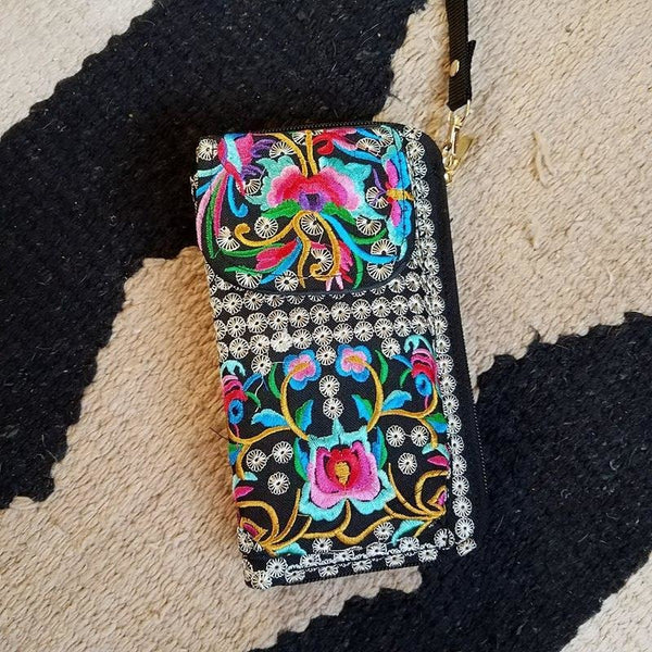 Beautifully embroidered wristlet wallet with removable strap. - Boot Lovers