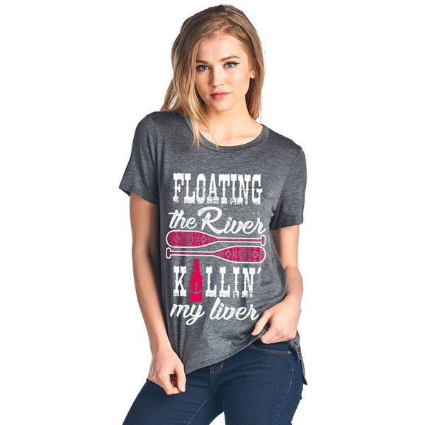 Floating the River, Killin' My Liver Dark Heather Grey T-Shirt. - Boot Lovers