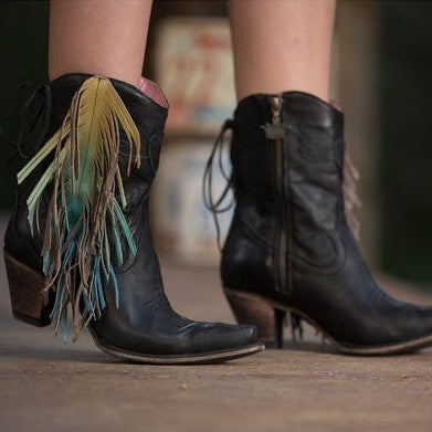 The Spirit Animal Ankle Boot in Black with Ombre' Fringe. By Junk Gypsy Style #JG0040B