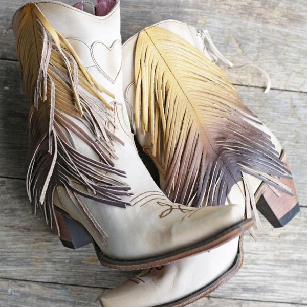 The Spirit Animal Ankle Boot in Bone with Ombre' Fringe by Junk Gypsy Style #JG0040C - Boot Lovers