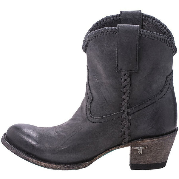 Plain Jane Shortie in Distressed Charcoal Black from Lane Boot Co. Style #LB0359E - Boot Lovers