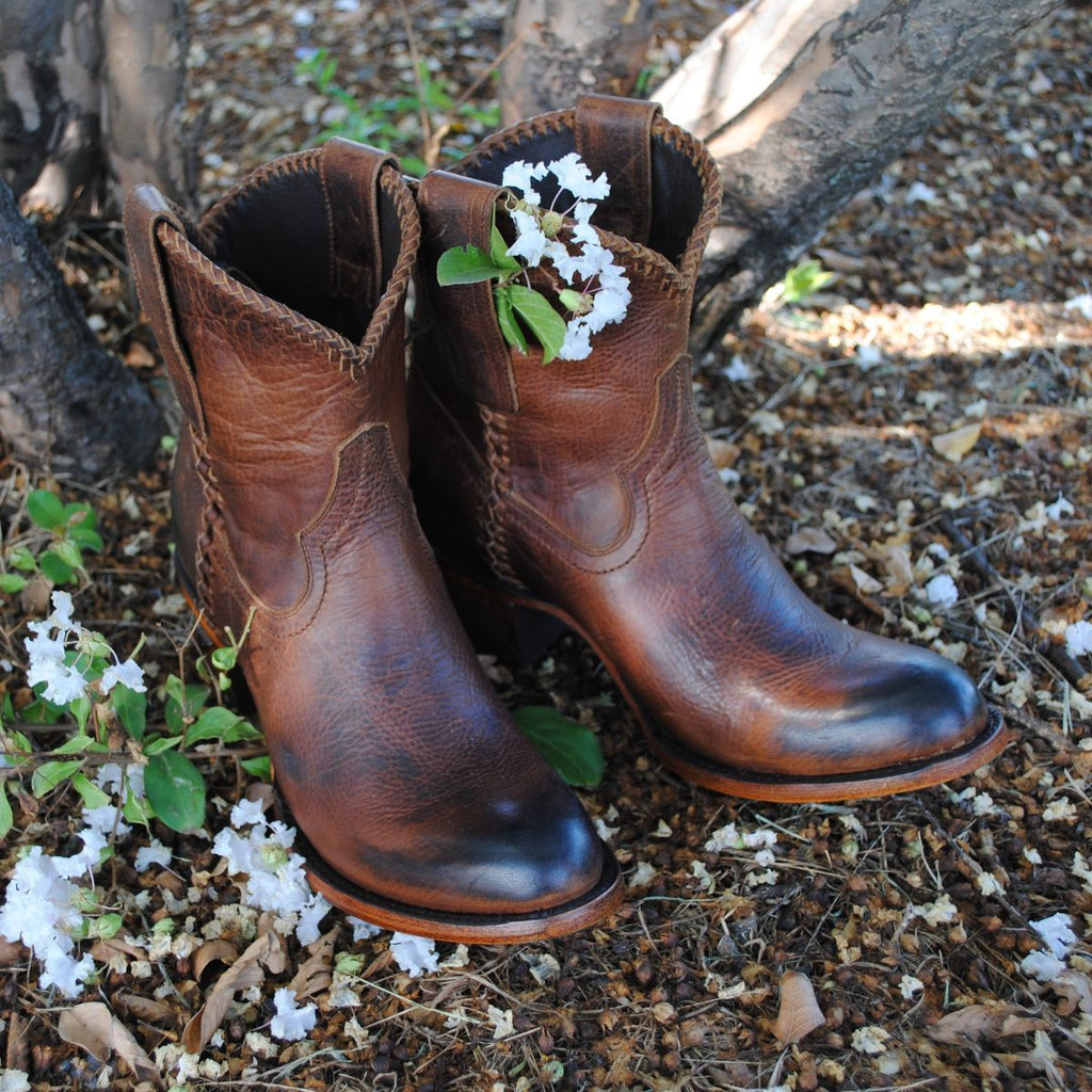 Plain Jane Shortie in Cognac from Lane Boot Co. Style #LB0359H - Boot Lovers