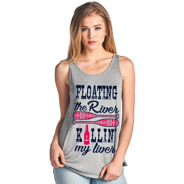 Floating the River, Killin' My Liver Light Heather Grey Tank Top - Boot Lovers
