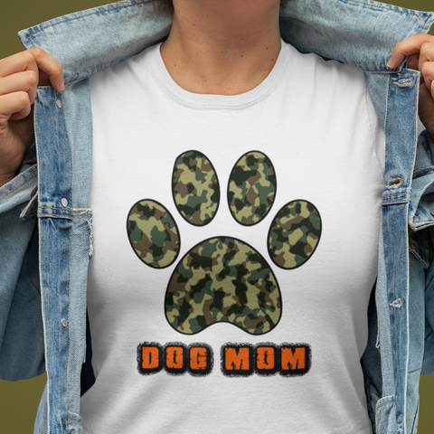 Dog Mom ladies crew neck T-Shirt