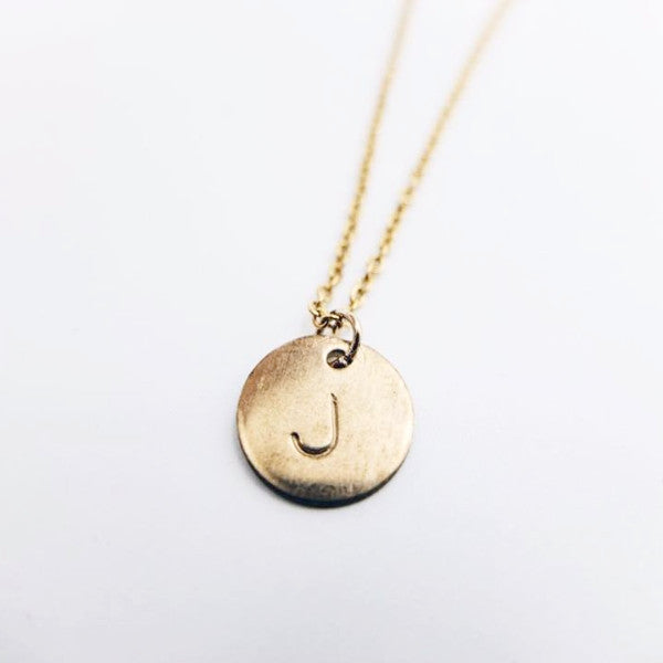 Monogram Disc Gold Filled Necklace (1 character)