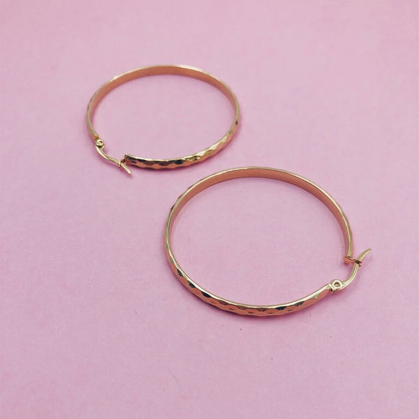 Textured Circle Large Hoop Earrings