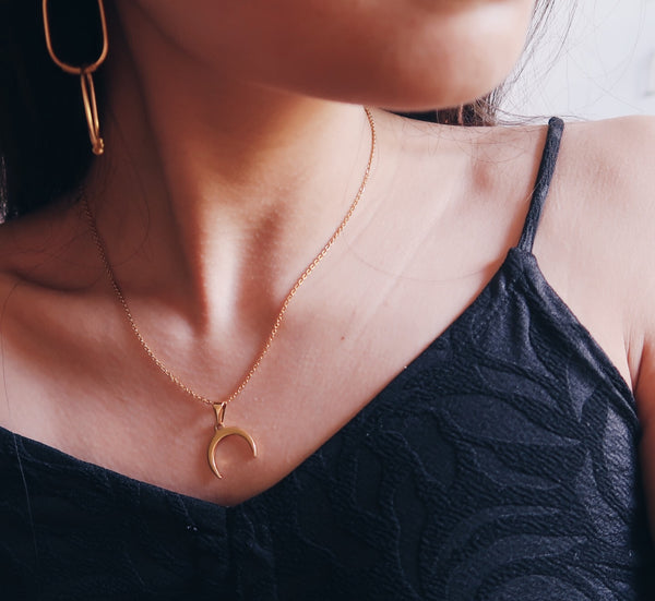 Sideways Crescent Moon Necklace