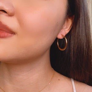 Midi Enamel Circle Hoop Earrings