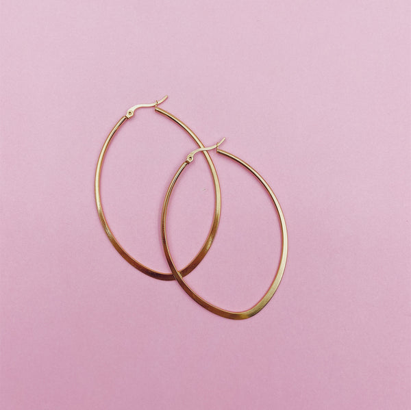 Maxi Plain Oval Hoop Earrings