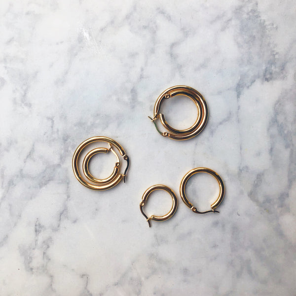 Thick Circle Hoop Earrings