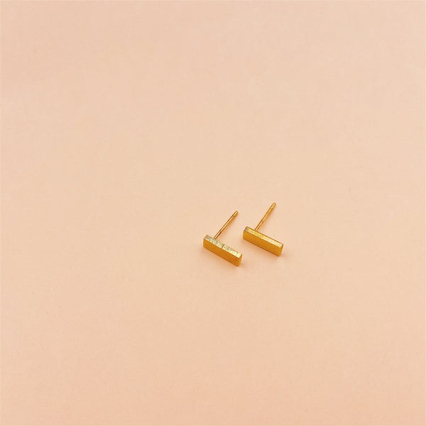 Thick Bar Stud Earrings
