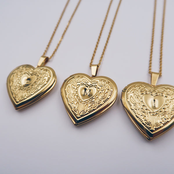 Monogram Heart Locket Necklace