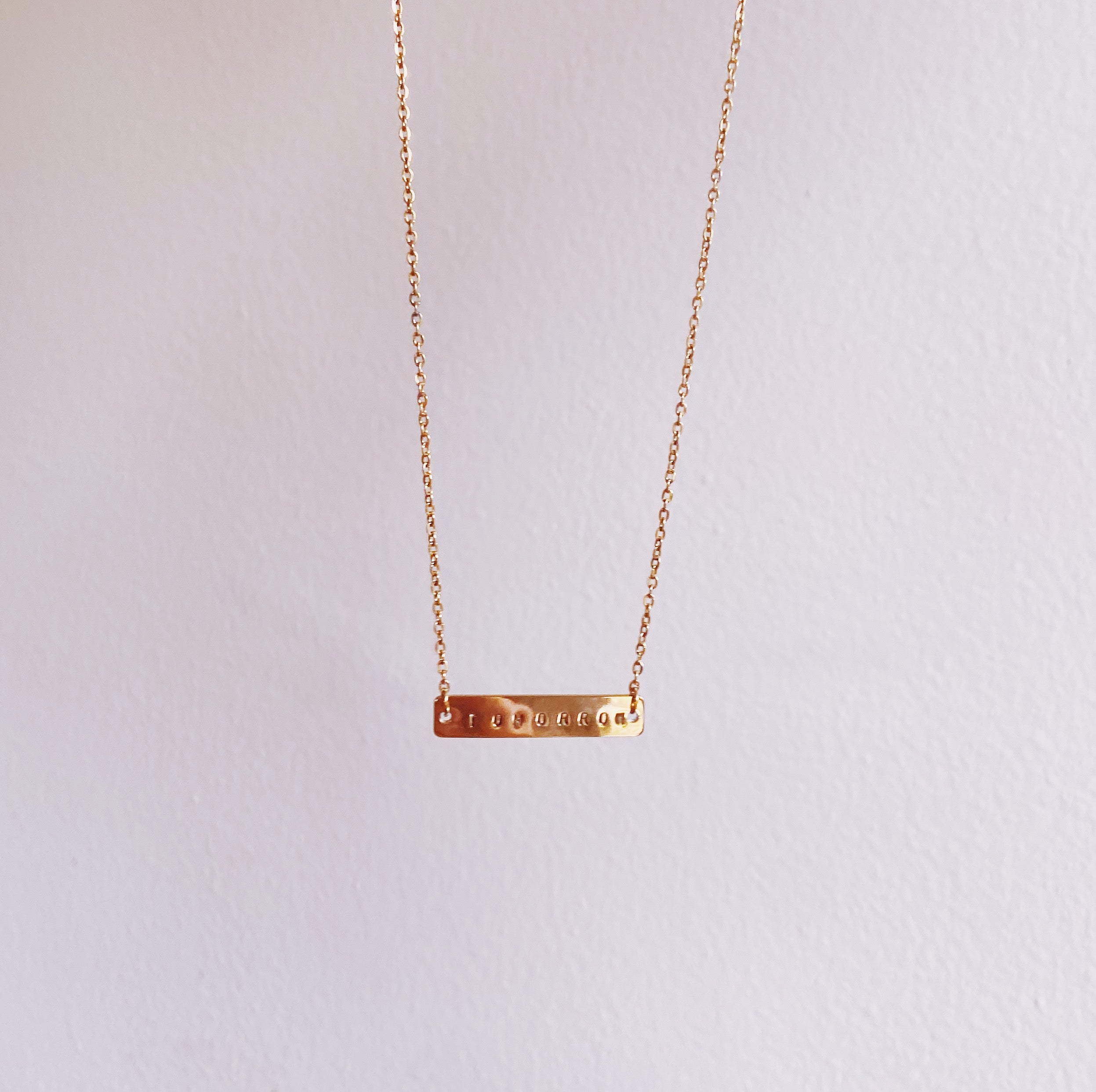 """TOMORROW"" Bar Gold Filled Necklace - 30% OFF"