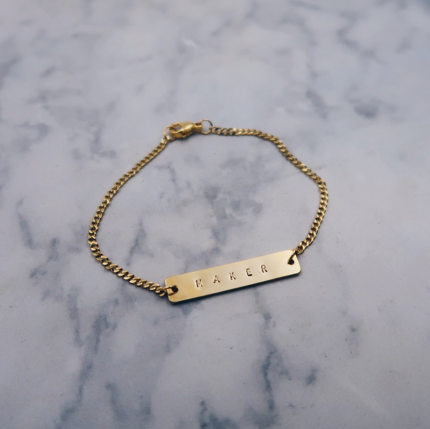 Custom Bar Gold Filled Bracelet (8 characters)