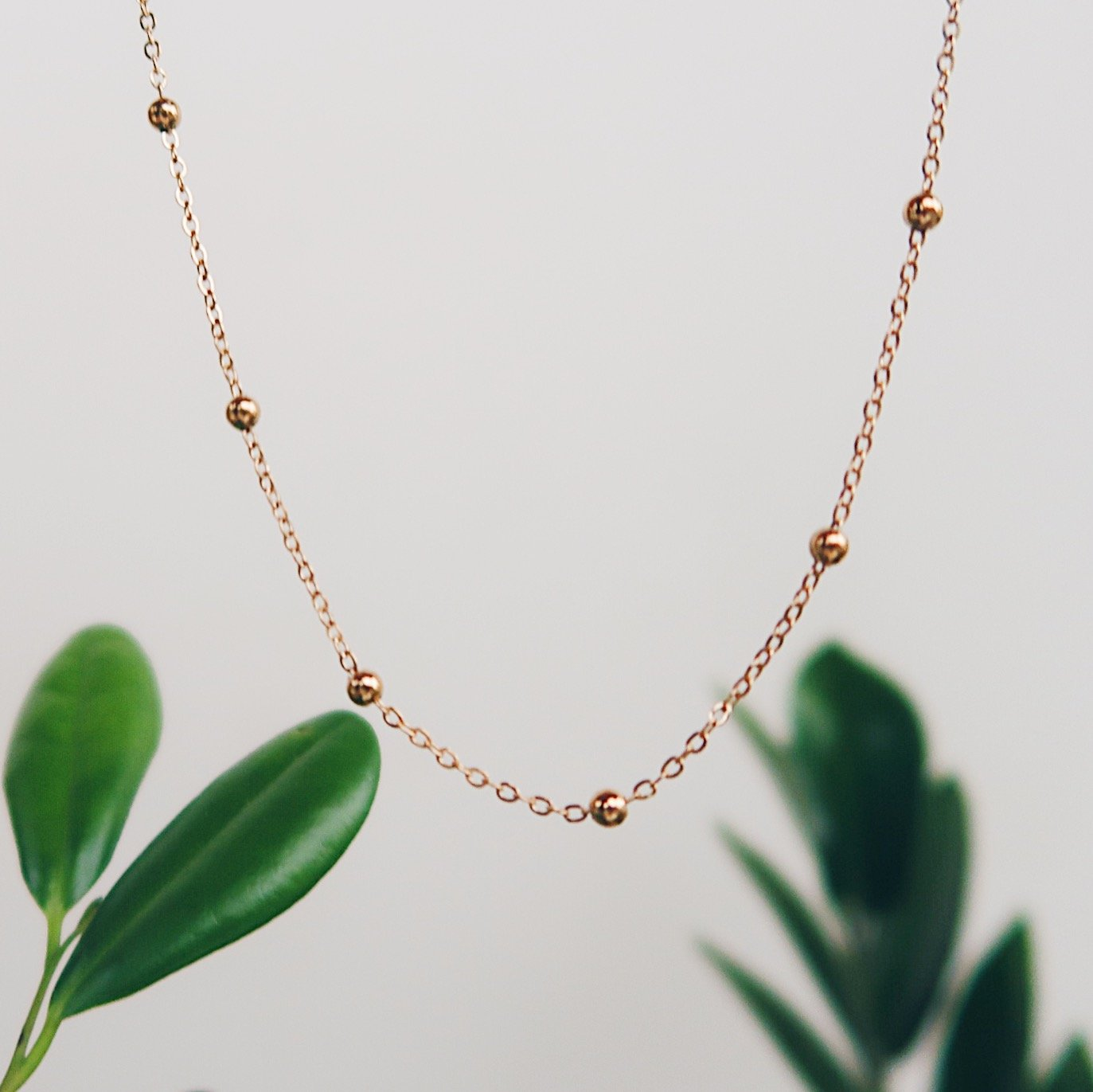 Beaded Chain Gold Filled Necklace