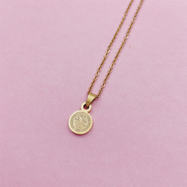Tiny Round Benedict Medallion Necklace