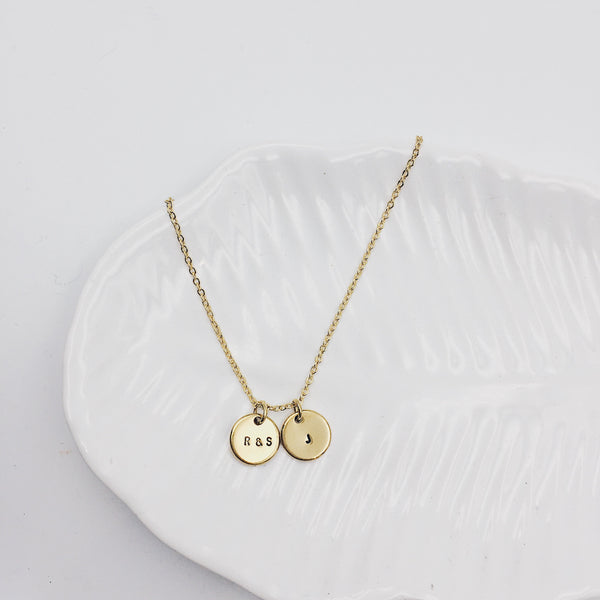 Mini Monogram Double Disc Gold Filled Necklace (3 characters)