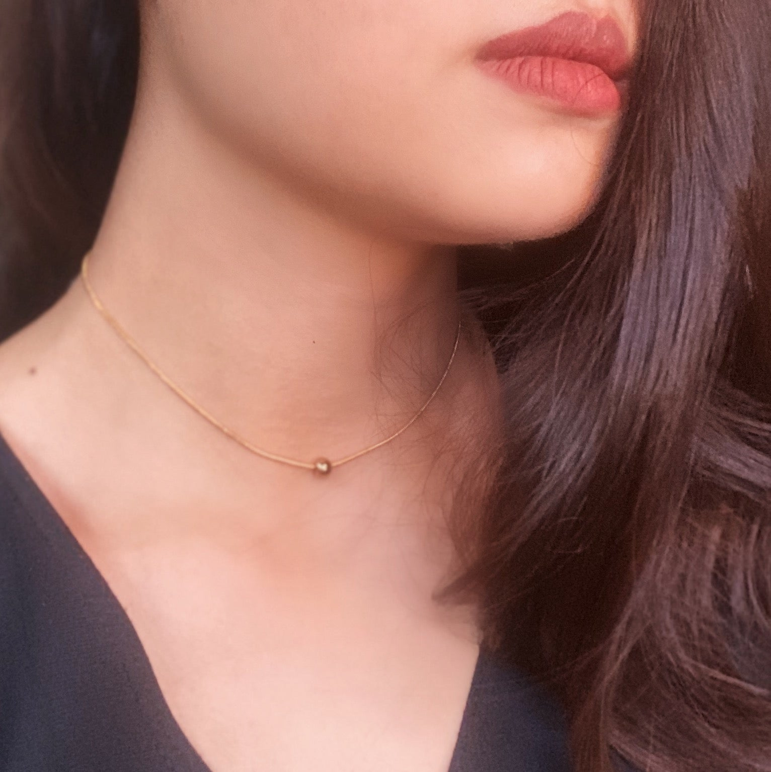Ball Charm Gold Filled Choker
