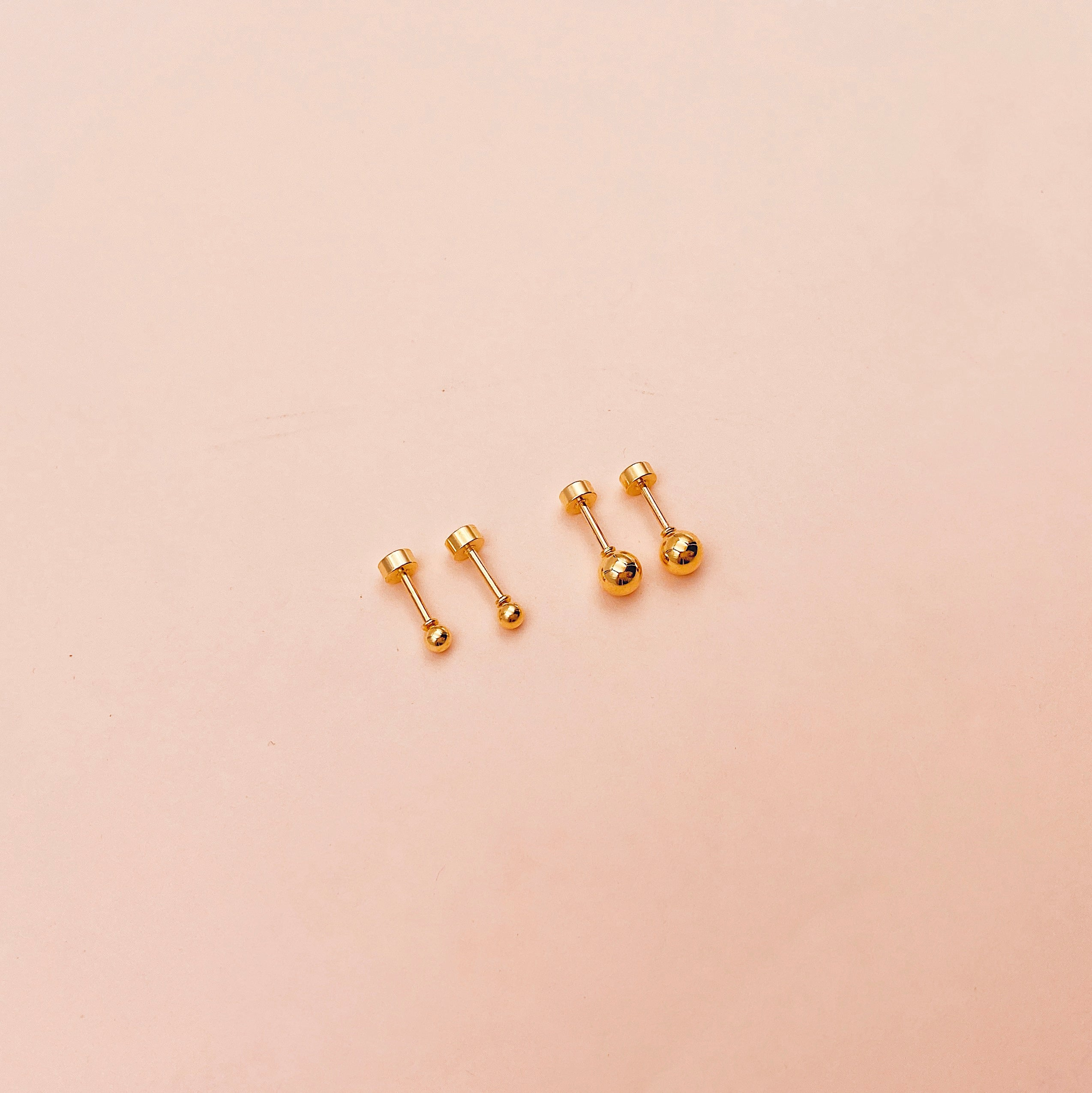 Reversible Ball & Circle Screwback Stud Earrings