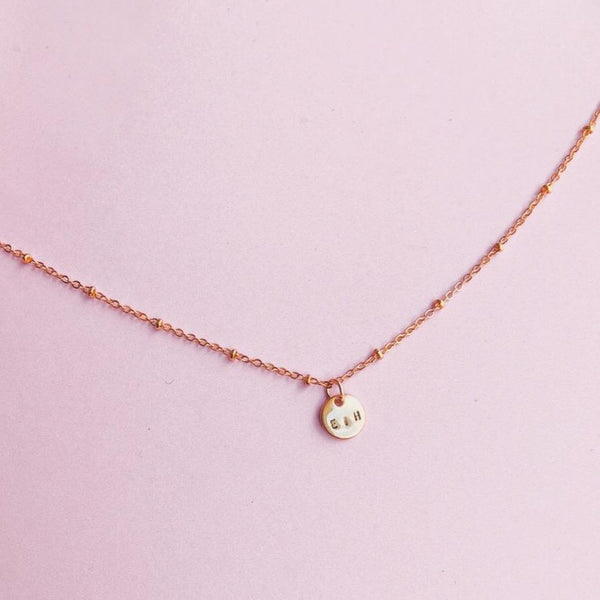 Mini Monogram on a Mini Beaded Chain Gold Filled Choker (3 characters)